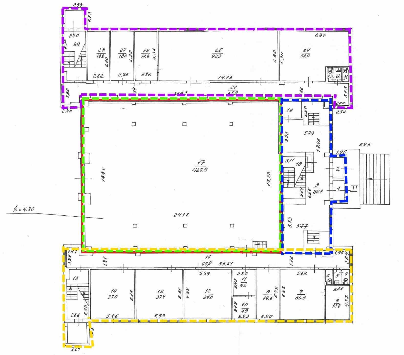 Образец будущего раздела помещения. Синем цветом показано вспомогательное помещение