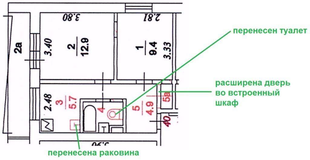 Пример переустройства помещения