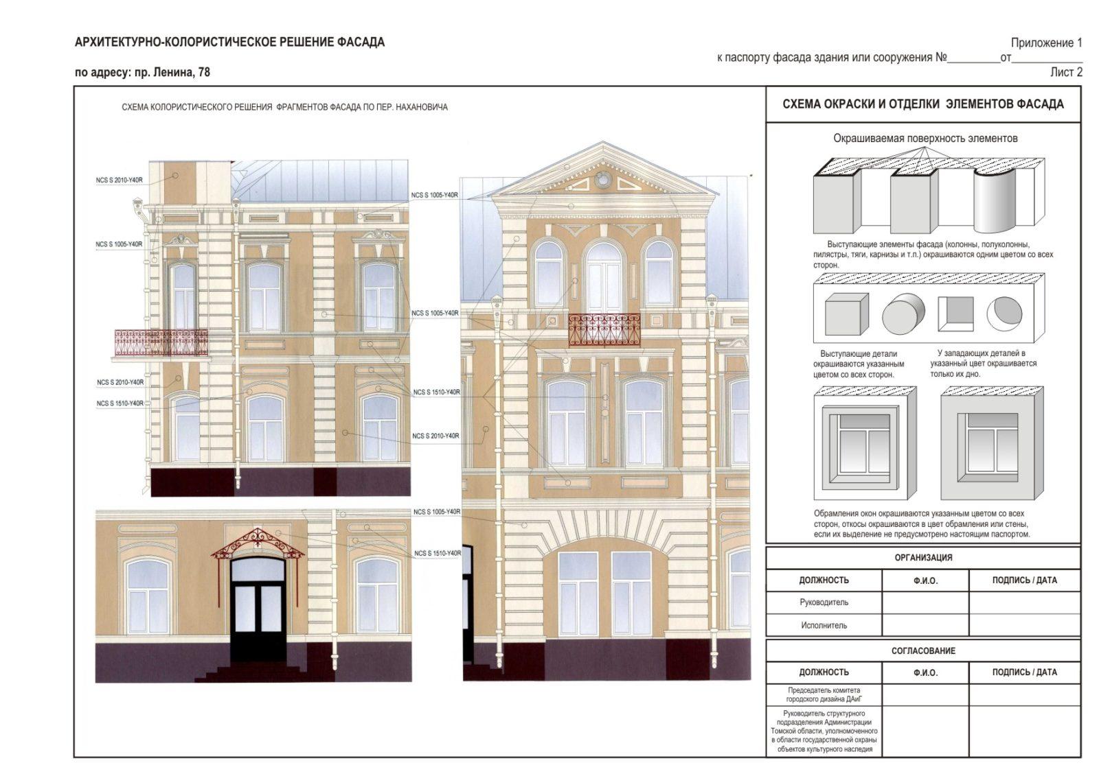 В колористических проектах и паспортах есть схемы, чертежи, разверстки фасадов.