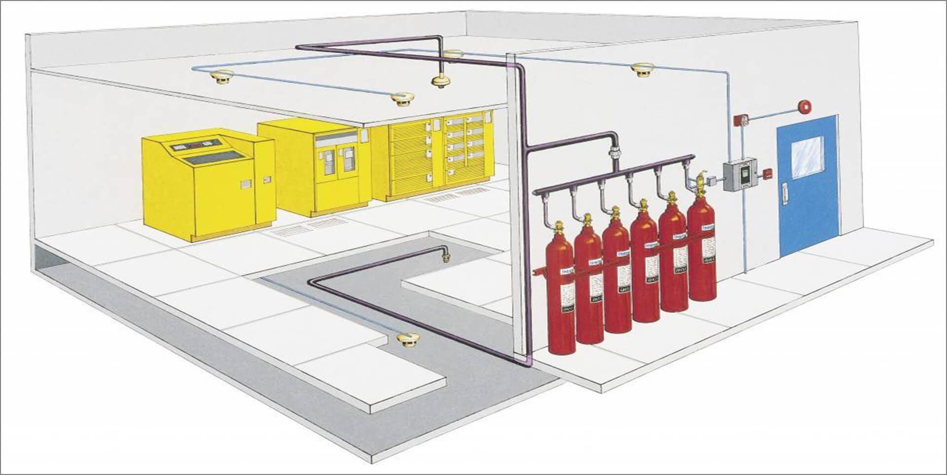 В проекте описываются особенности размещение резервуаров с тушащими составами, расчетные показатели срабатывания системы.